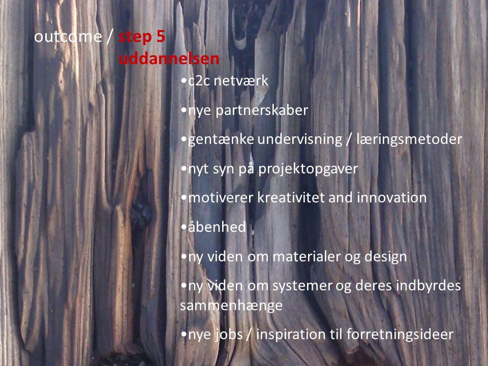 outcome / step 5 uddannelsen c2c netværk nye partnerskaber