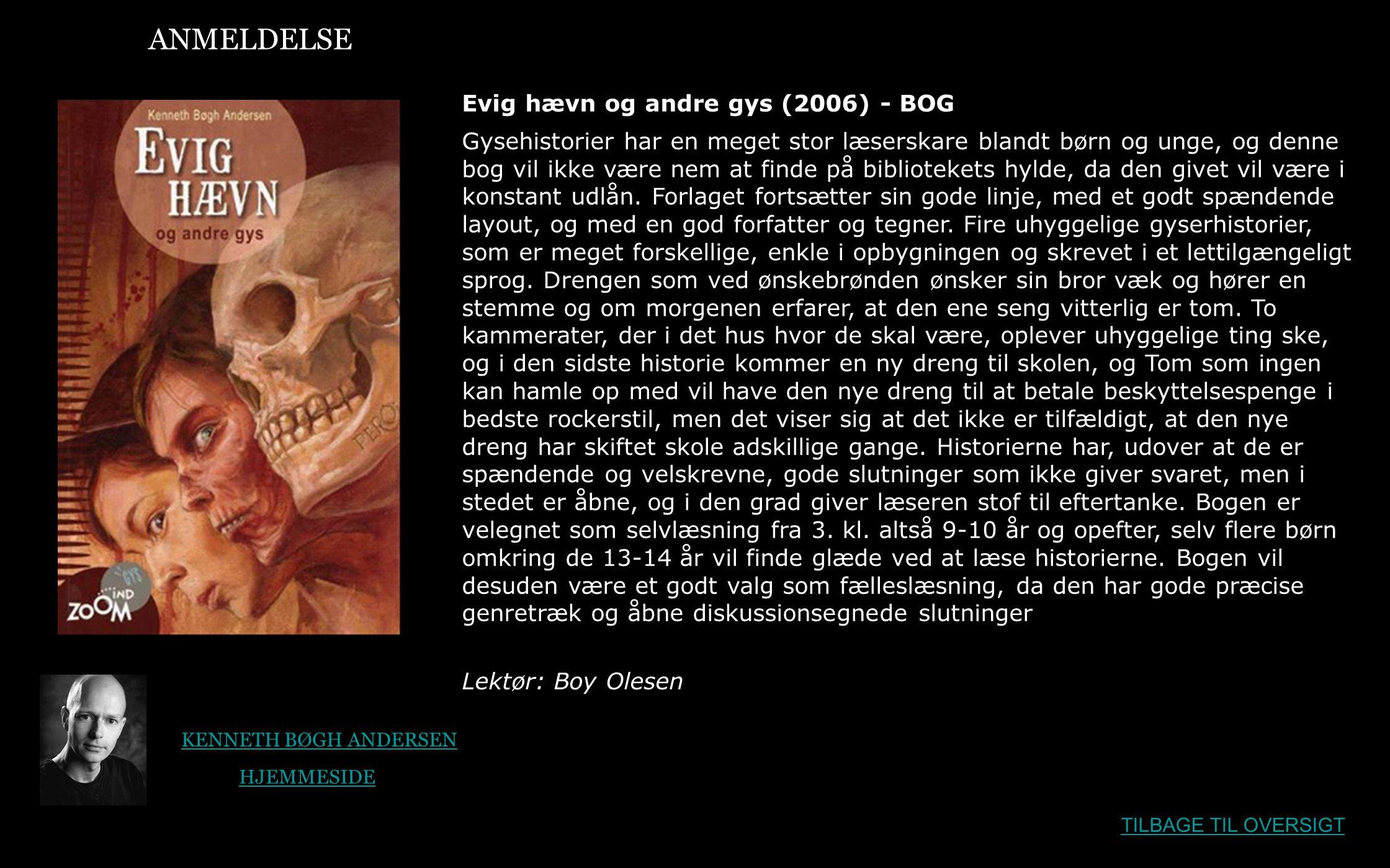 ANMELDELSE Evig hævn og andre gys (2006) - BOG