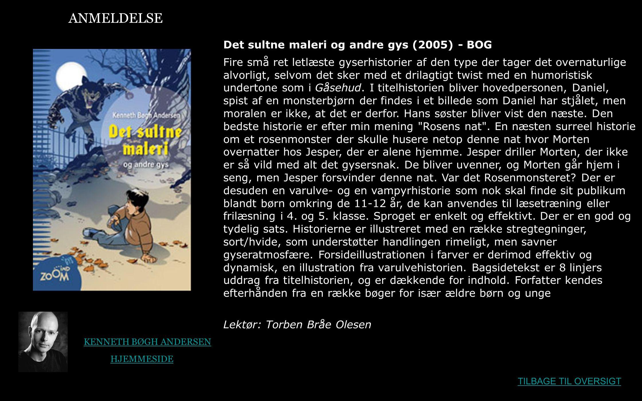 ANMELDELSE Det sultne maleri og andre gys (2005) - BOG