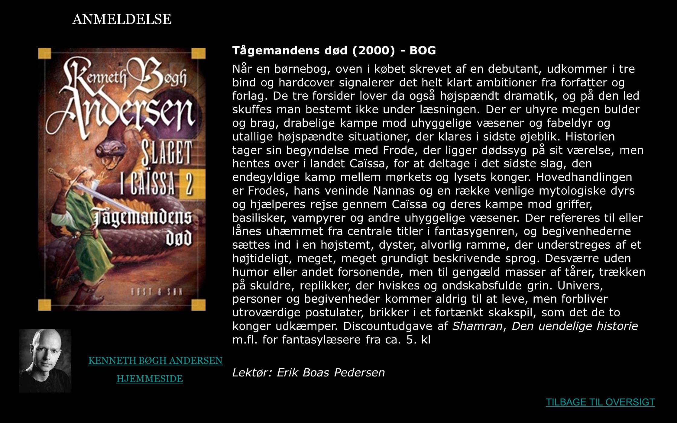 ANMELDELSE Tågemandens død (2000) - BOG