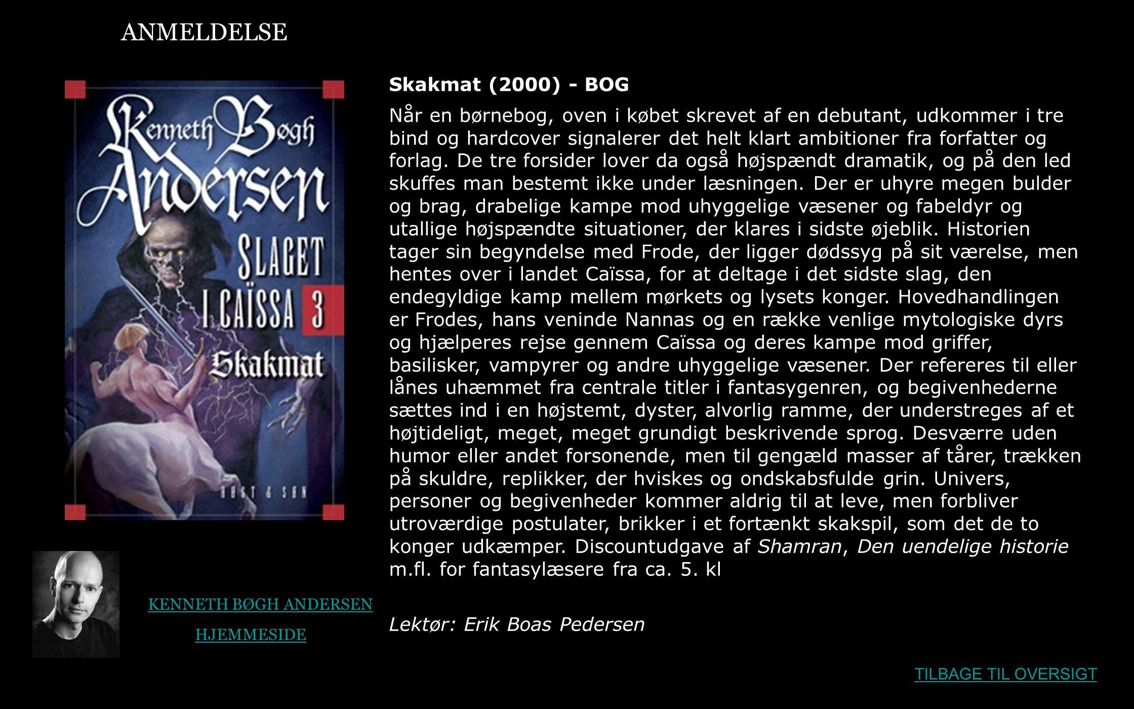ANMELDELSE Skakmat (2000) - BOG