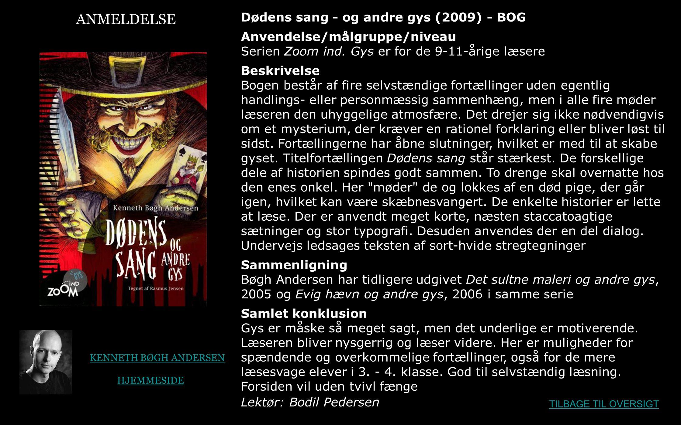 ANMELDELSE Dødens sang - og andre gys (2009) - BOG