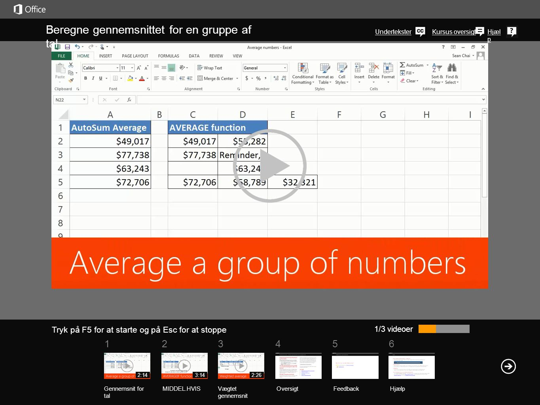 Beregne gennemsnittet for en gruppe af tal
