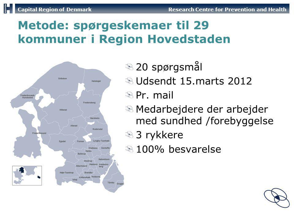 Metode: spørgeskemaer til 29 kommuner i Region Hovedstaden