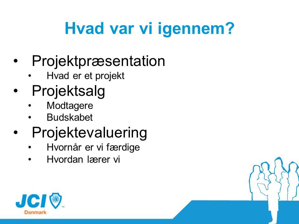 Hvad var vi igennem Projektpræsentation Projektsalg Projektevaluering