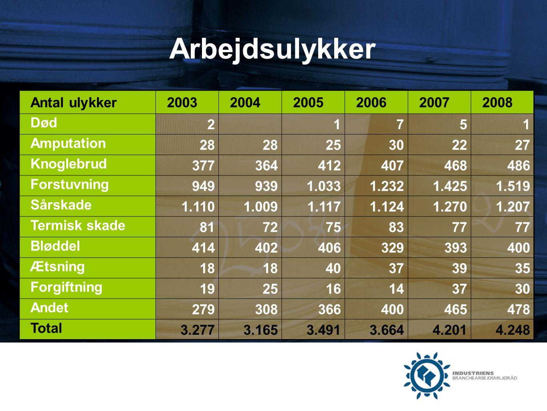Arbejdsulykker Antal ulykker 2003 2004 2005 2006 2007 2008 Død 2 1 7 5