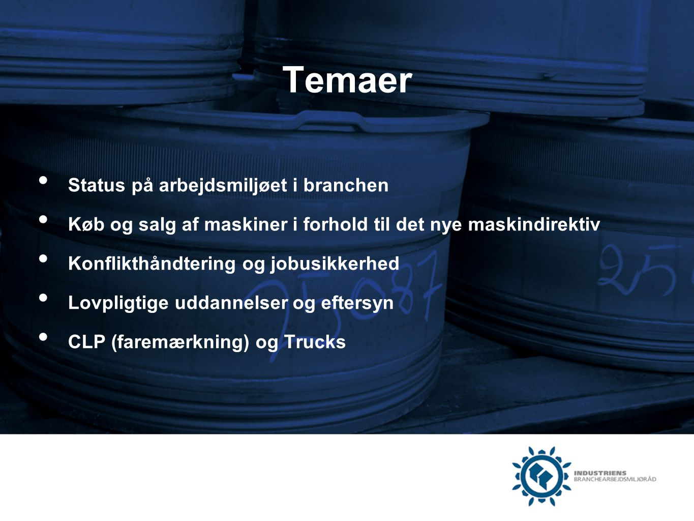 Temaer Status på arbejdsmiljøet i branchen