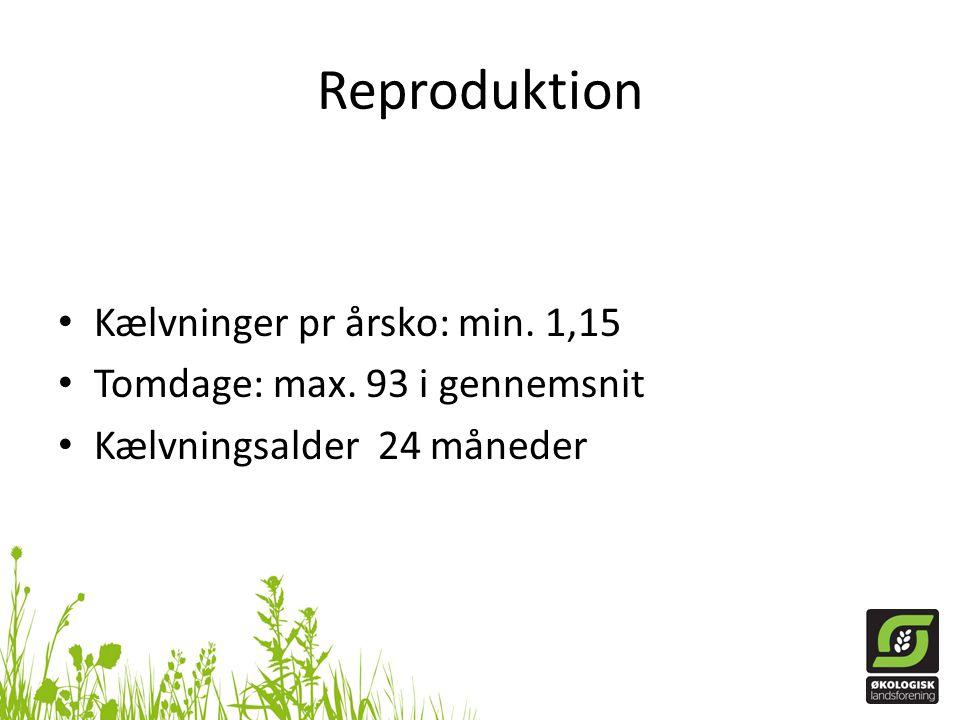 Reproduktion Kælvninger pr årsko: min. 1,15
