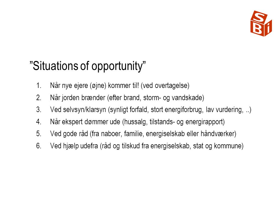 Situations of opportunity