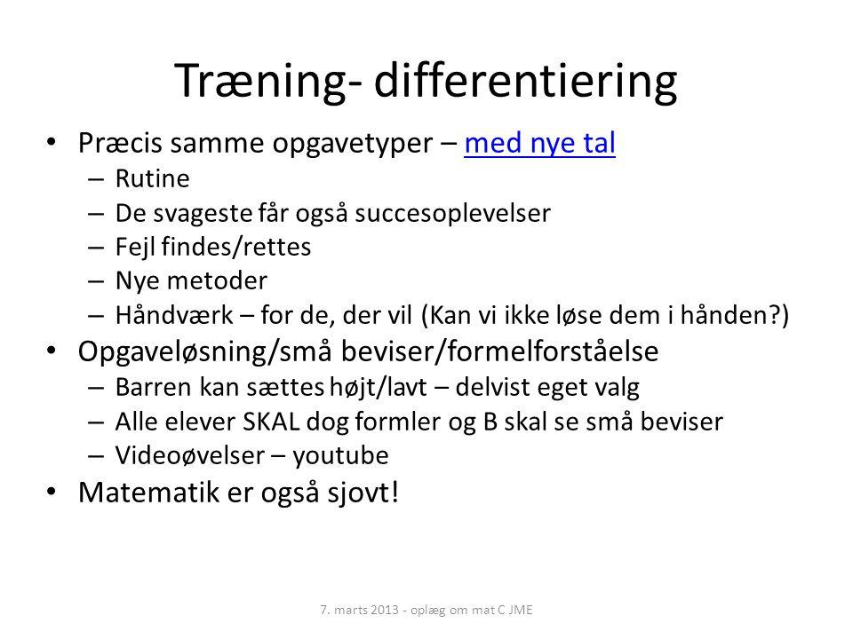 Træning- differentiering