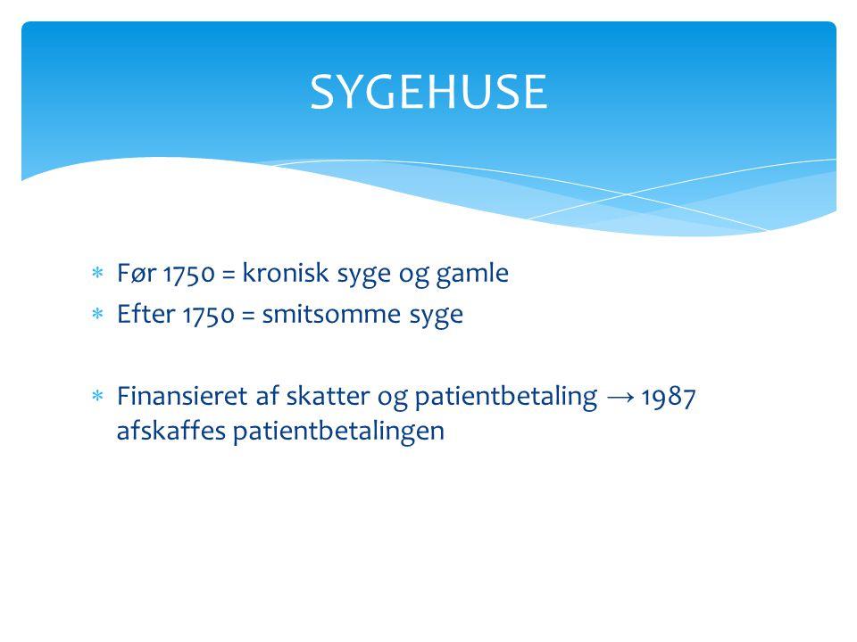 SYGEHUSE Før 1750 = kronisk syge og gamle Efter 1750 = smitsomme syge