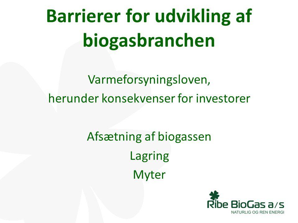 Barrierer for udvikling af biogasbranchen