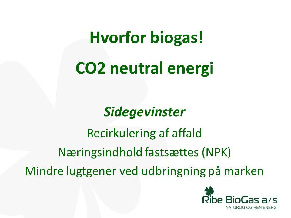 Hvorfor biogas! CO2 neutral energi