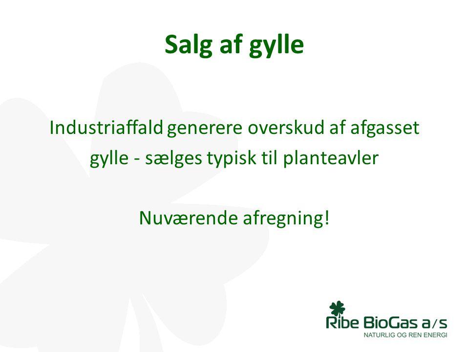 Salg af gylle Industriaffald generere overskud af afgasset gylle - sælges typisk til planteavler Nuværende afregning.