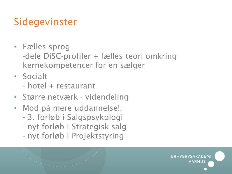 Sidegevinster Fælles sprog -dele DiSC-profiler + fælles teori omkring kernekompetencer for en sælger.