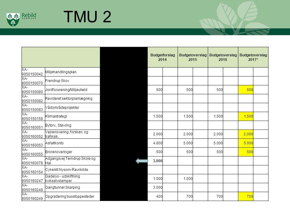 TMU 2 Overfrørt fra 2012 Opr. Budget 2013 Budgetforslag 2014