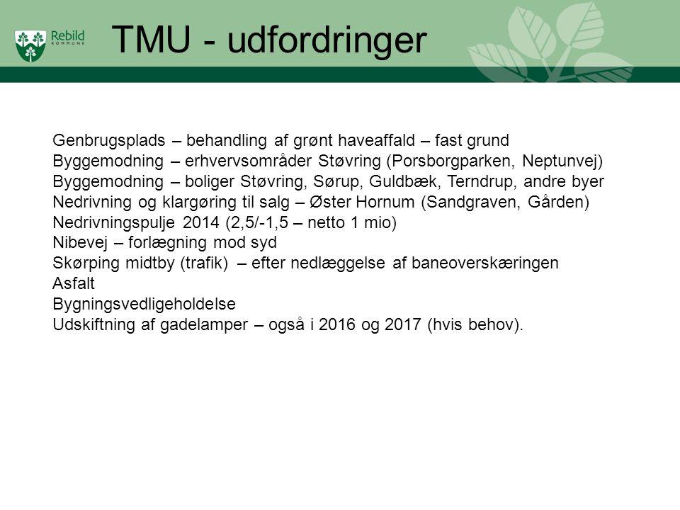 TMU - udfordringer Genbrugsplads – behandling af grønt haveaffald – fast grund. Byggemodning – erhvervsområder Støvring (Porsborgparken, Neptunvej)