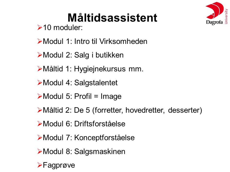 Måltidsassistent 10 moduler: Modul 1: Intro til Virksomheden