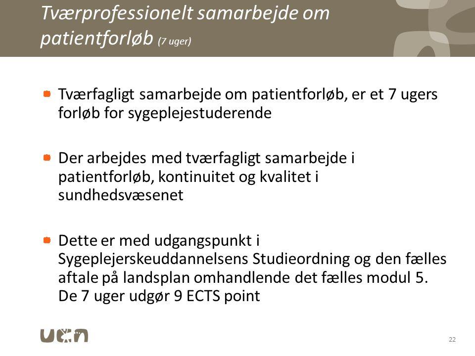 Tværprofessionelt samarbejde om patientforløb (7 uger)