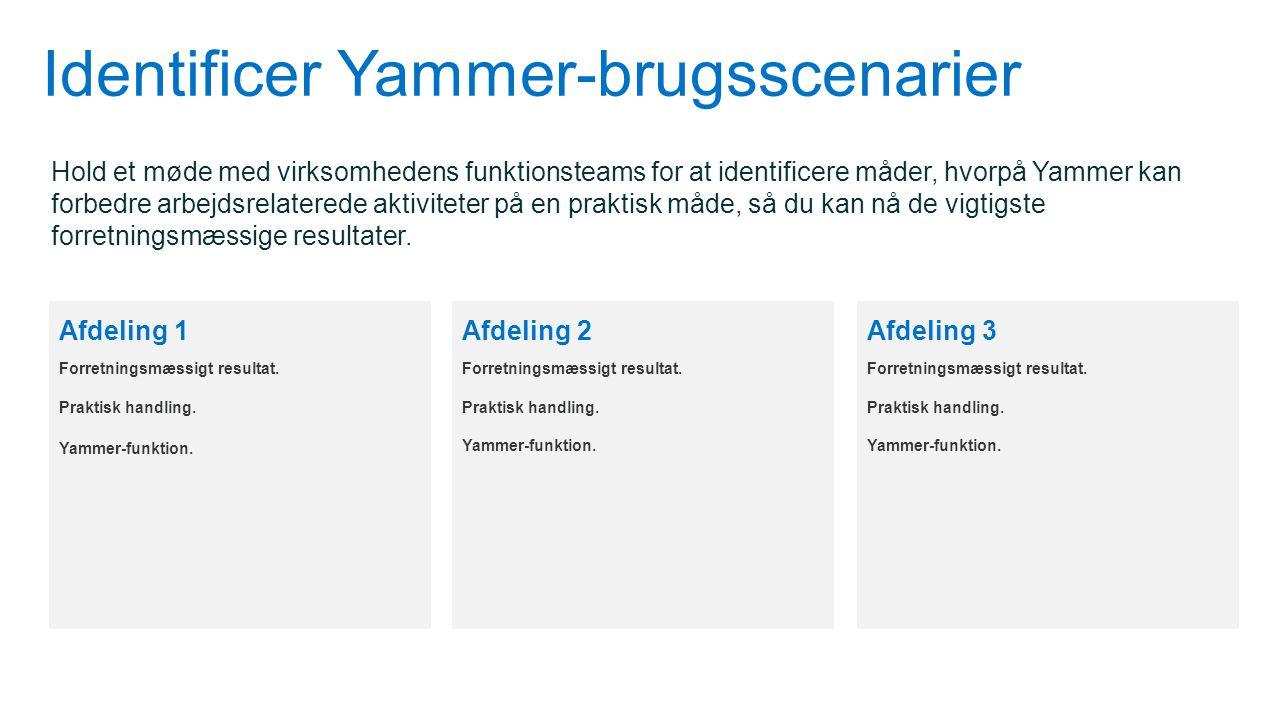 Identificer Yammer-brugsscenarier