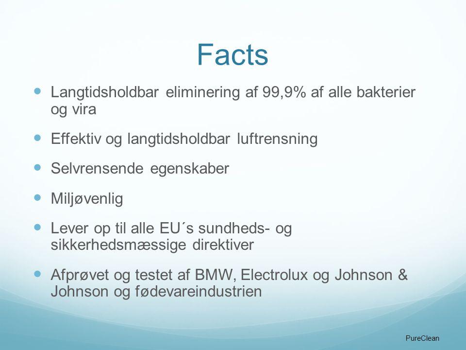 Facts Langtidsholdbar eliminering af 99,9% af alle bakterier og vira