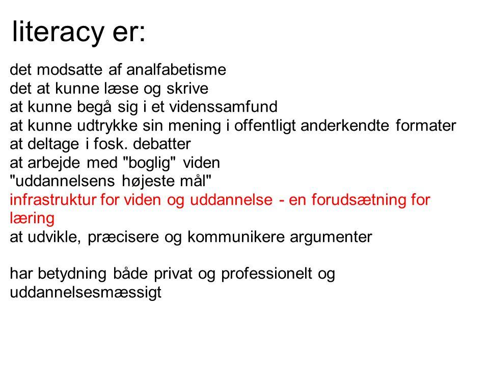 literacy er: det modsatte af analfabetisme det at kunne læse og skrive