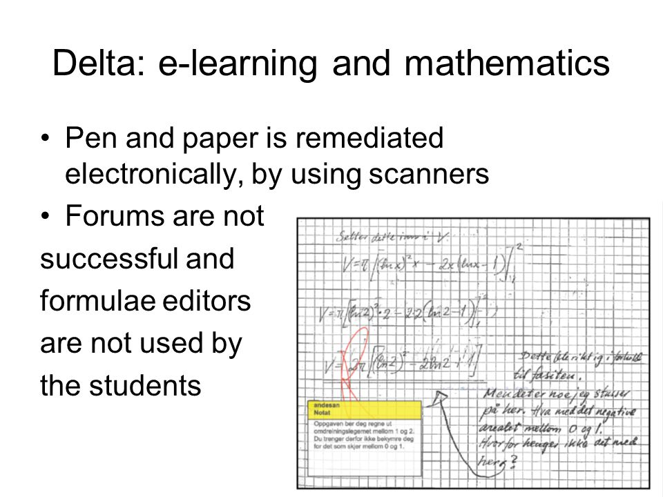 Delta: e-learning and mathematics