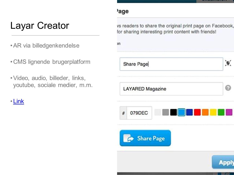 Layar Creator AR via billedgenkendelse CMS lignende brugerplatform