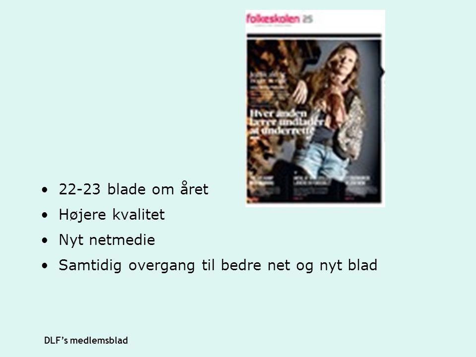 22-23 blade om året Højere kvalitet Nyt netmedie Samtidig overgang til bedre net og nyt blad