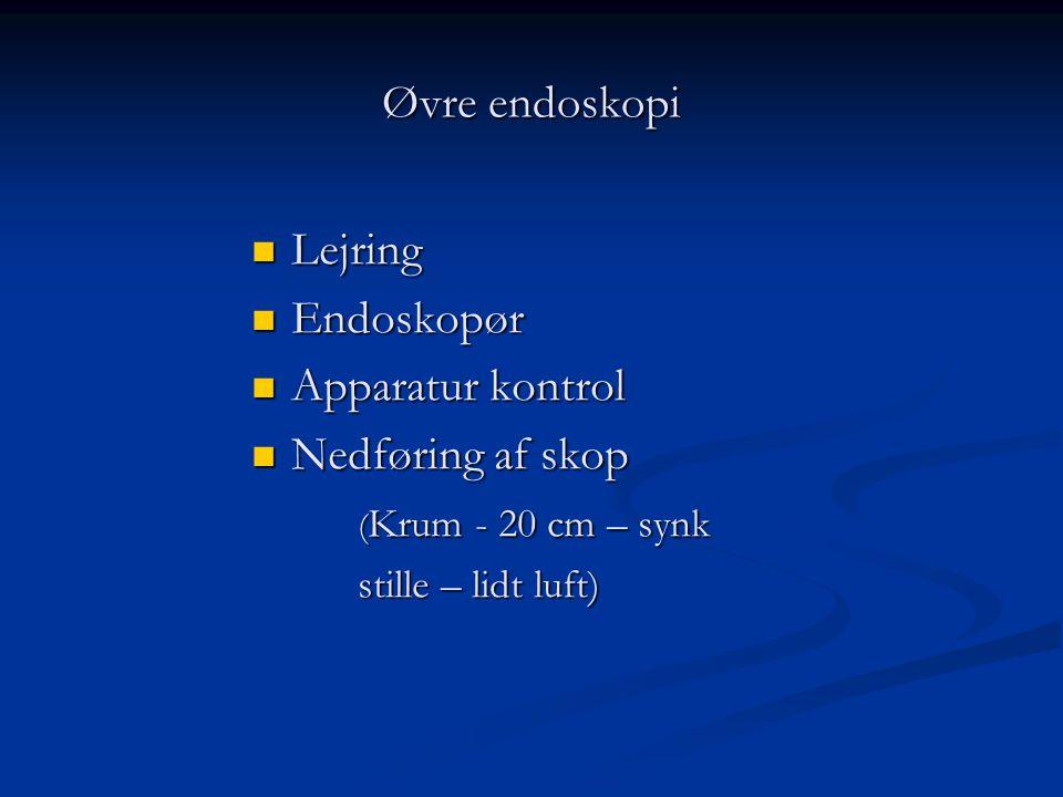 Øvre endoskopi Lejring Endoskopør Apparatur kontrol Nedføring af skop