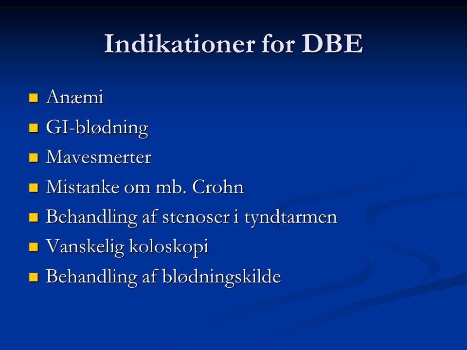 Indikationer for DBE Anæmi GI-blødning Mavesmerter