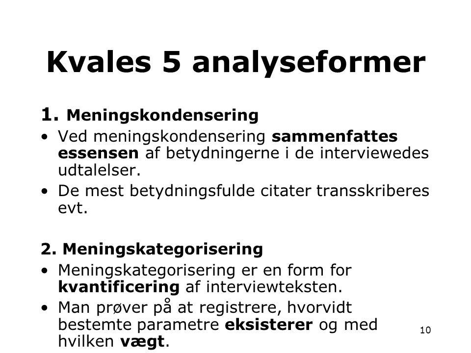 Kvales 5 analyseformer 1. Meningskondensering