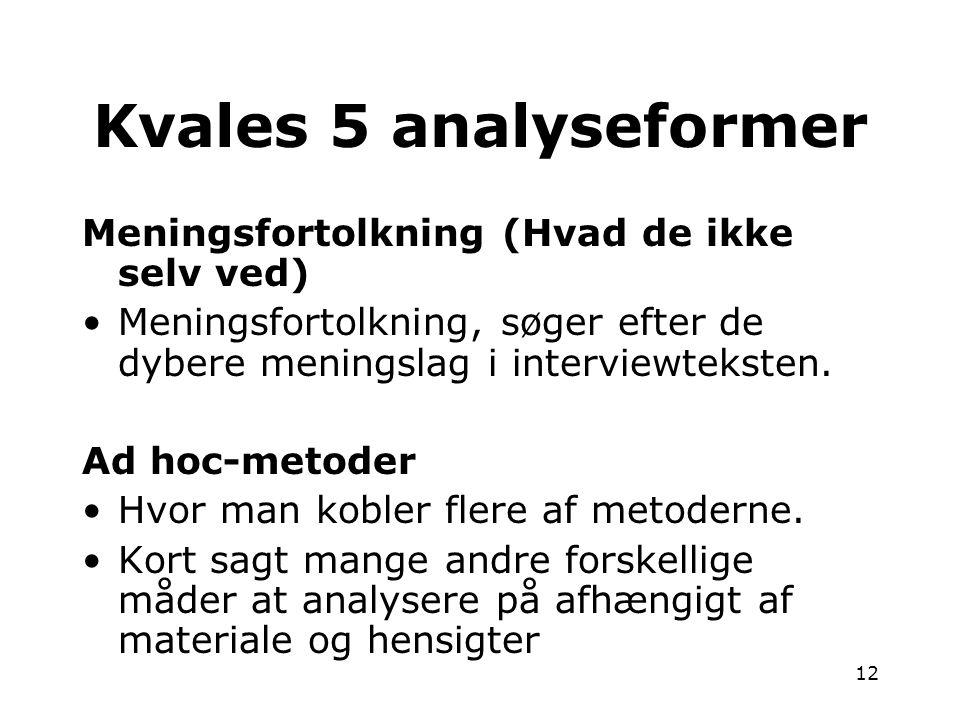 Kvales 5 analyseformer Meningsfortolkning (Hvad de ikke selv ved)