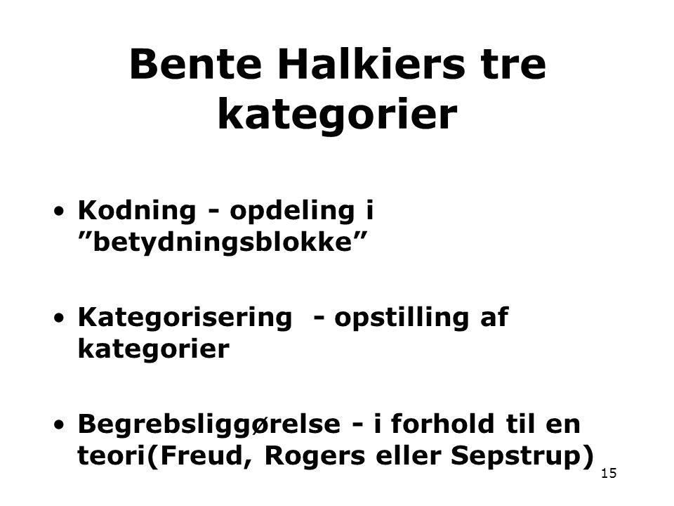 Bente Halkiers tre kategorier