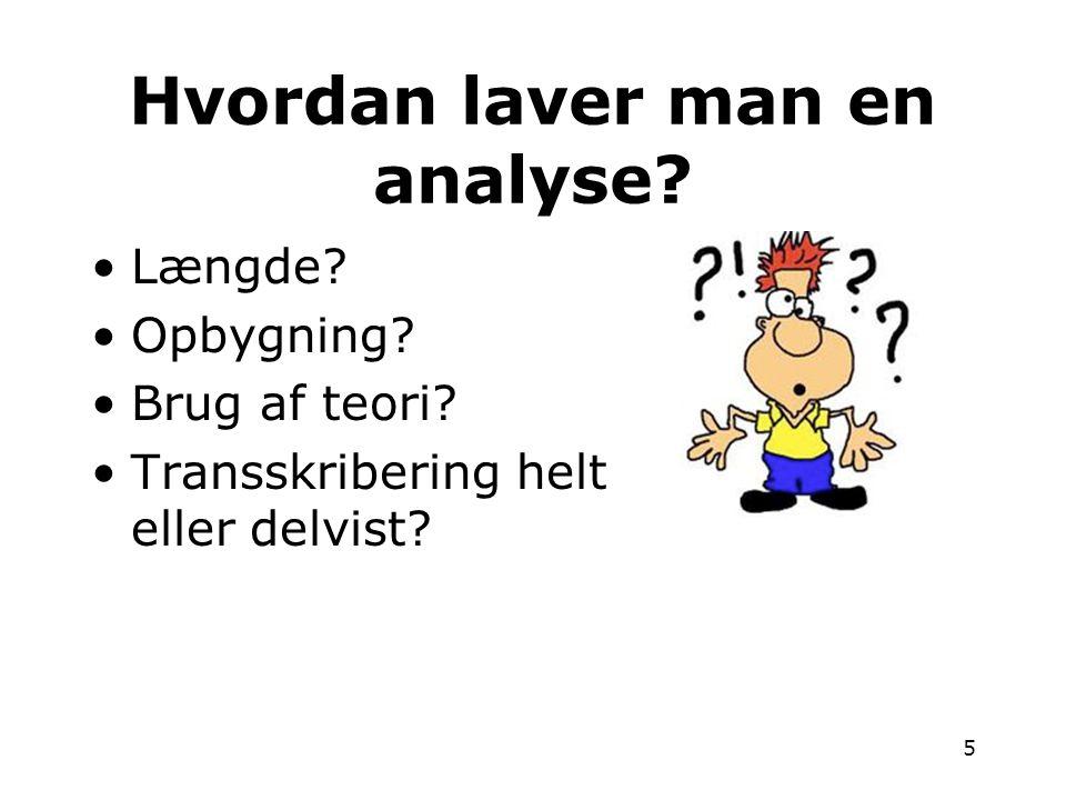 Hvordan laver man en analyse