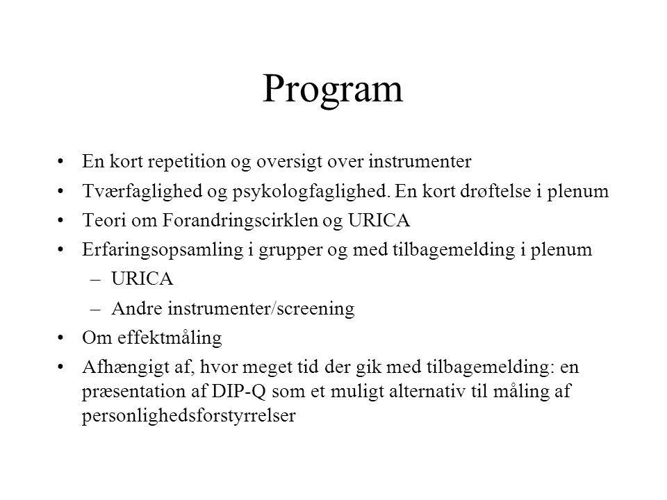 Program En kort repetition og oversigt over instrumenter
