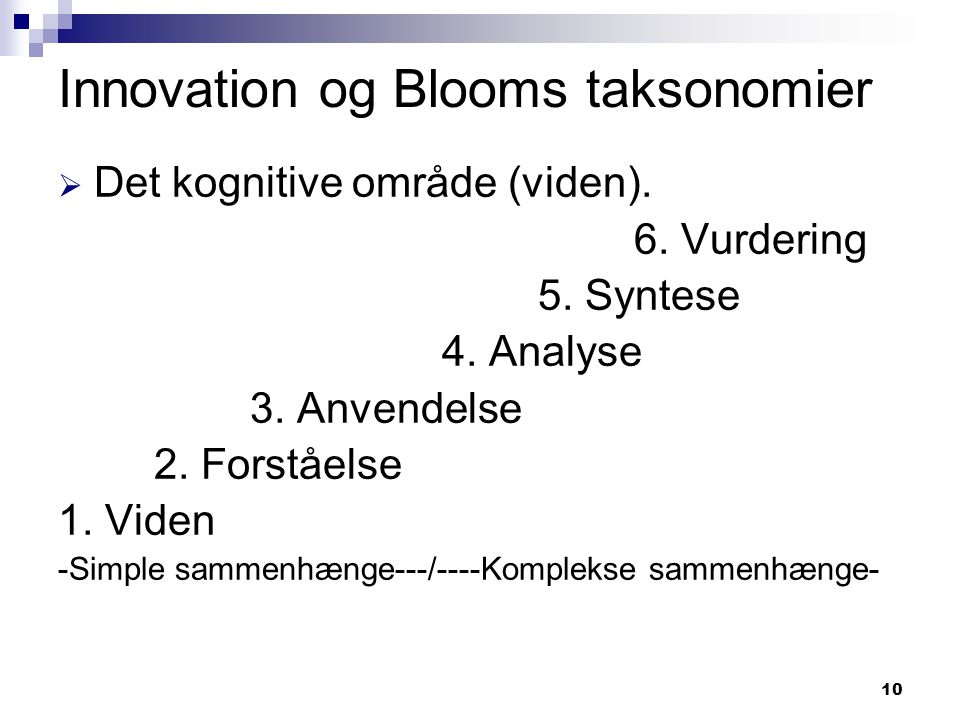 Innovation og Blooms taksonomier
