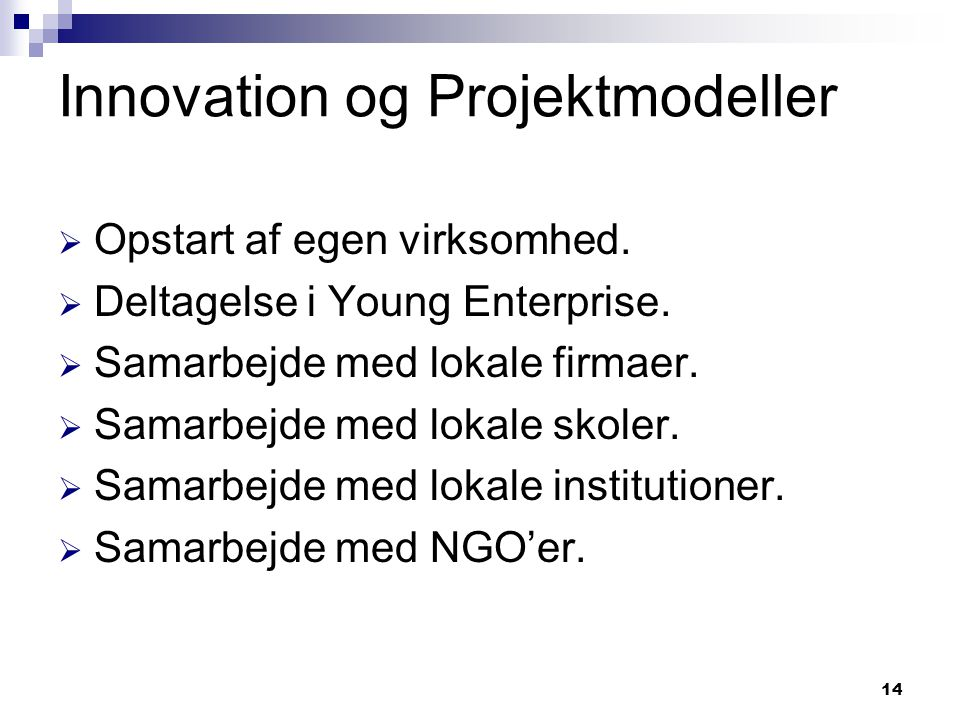 Innovation og Projektmodeller
