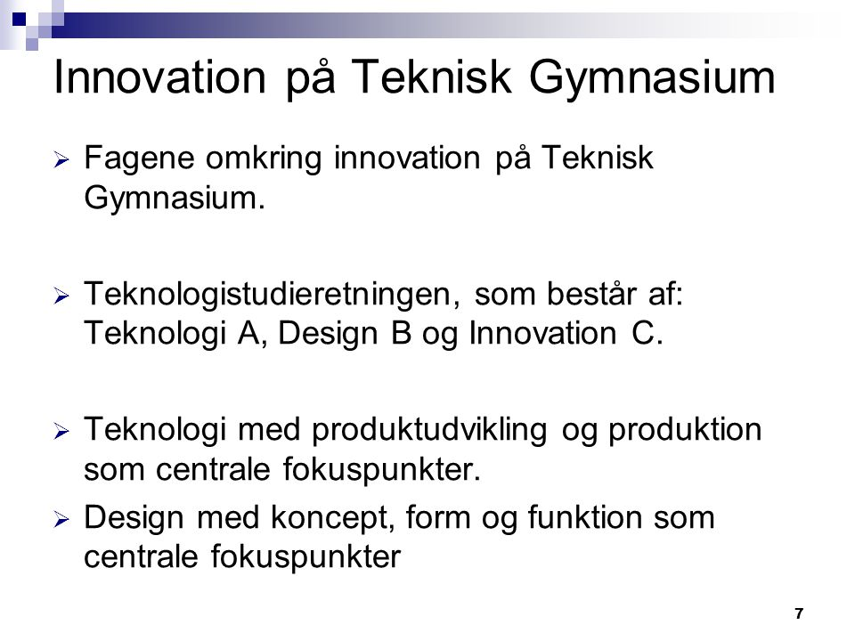 Innovation på Teknisk Gymnasium