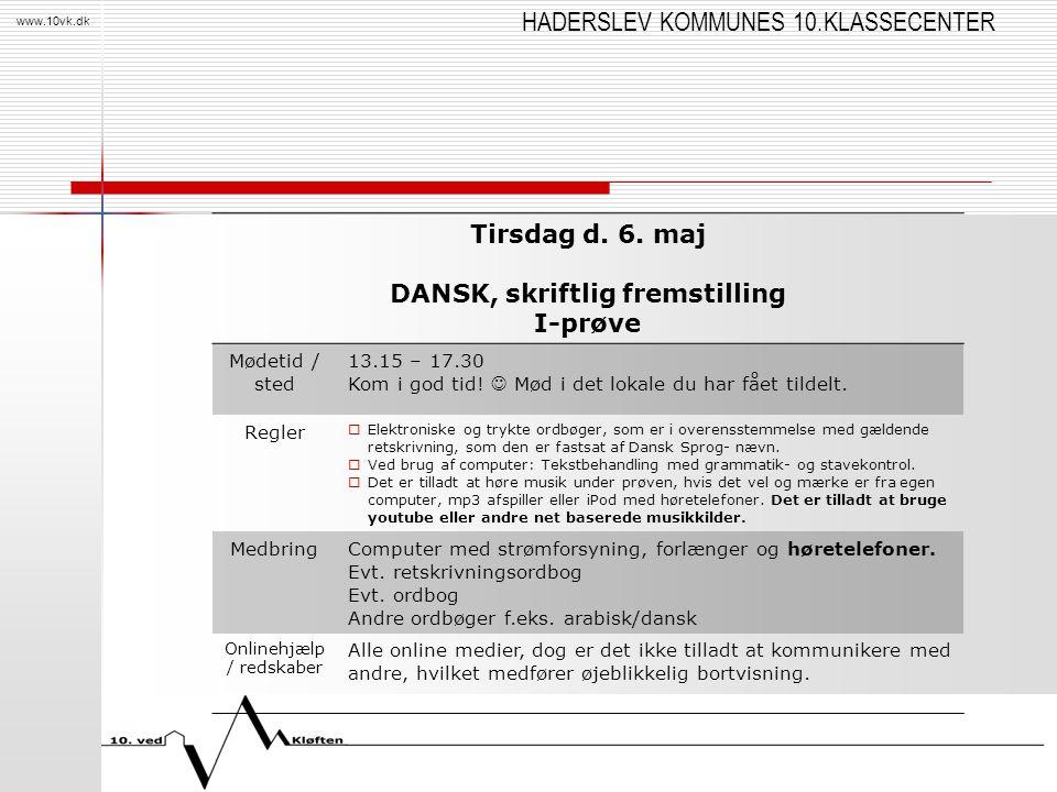 DANSK, skriftlig fremstilling