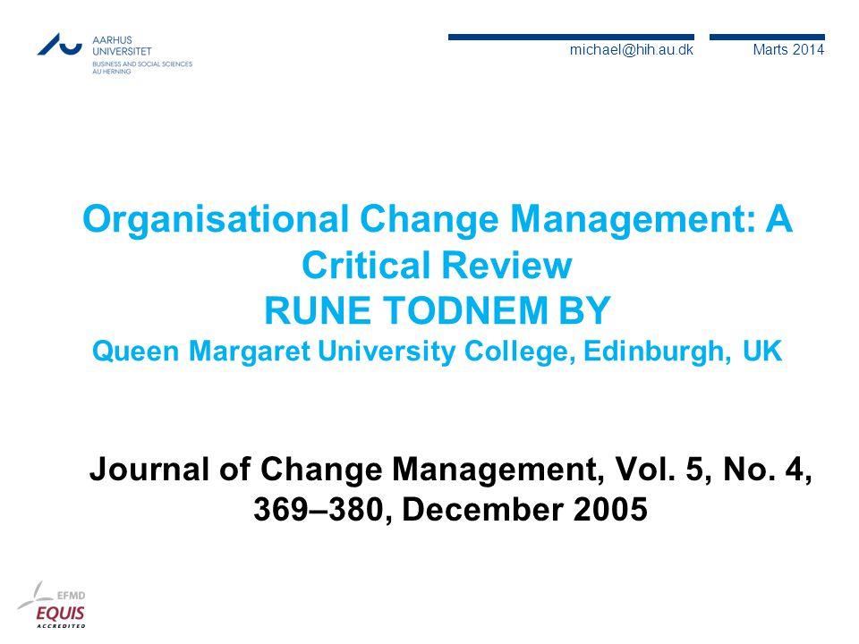 Journal of Change Management, Vol. 5, No. 4, 369–380, December 2005