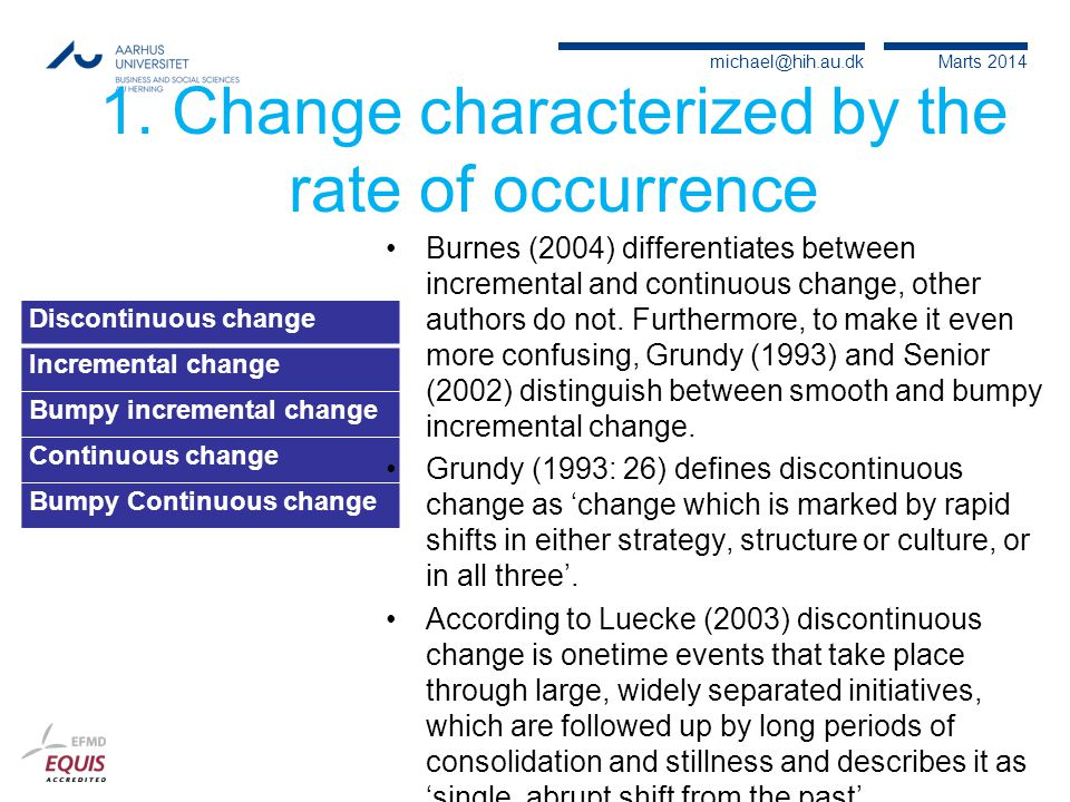 1. Change characterized by the rate of occurrence