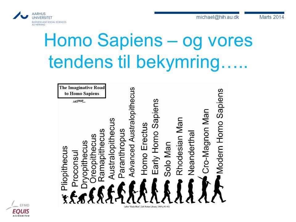 Homo Sapiens – og vores tendens til bekymring…..