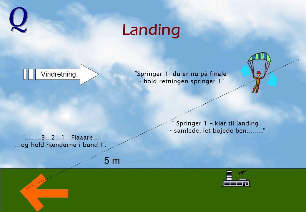 Landing 5 m Vindretning Springer 1- du er nu på finale