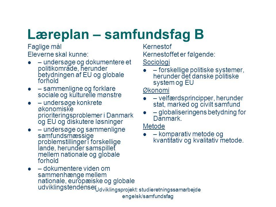 Læreplan – samfundsfag B
