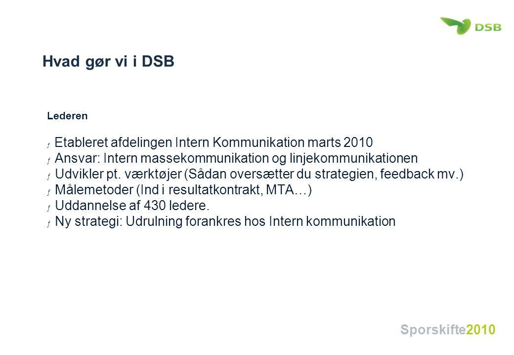 Hvad gør vi i DSB Lederen. Etableret afdelingen Intern Kommunikation marts 2010. Ansvar: Intern massekommunikation og linjekommunikationen.