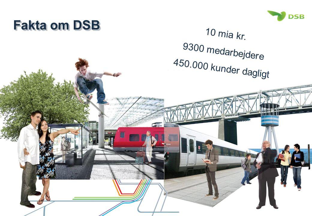 Fakta om DSB 10 mia kr. 9300 medarbejdere 450.000 kunder dagligt
