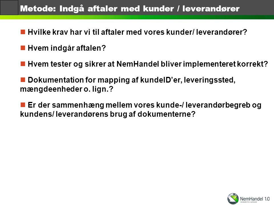 Metode: Indgå aftaler med kunder / leverandører