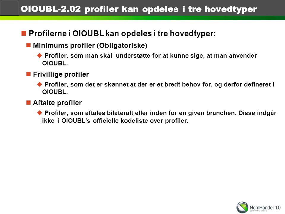 OIOUBL-2.02 profiler kan opdeles i tre hovedtyper