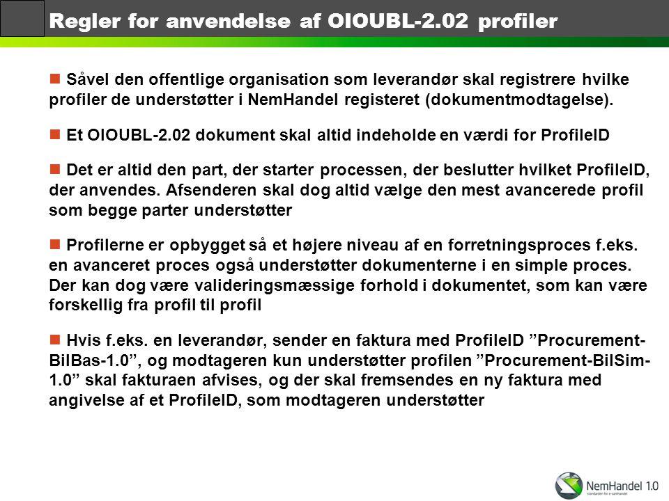 Regler for anvendelse af OIOUBL-2.02 profiler